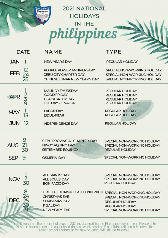 Christmas In Cebu 2021 2021 National Holidays In The Philippines English Fella