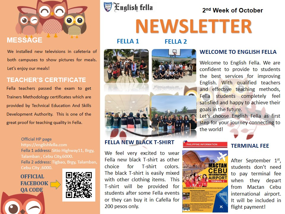 Newsletter October 2nd 2019